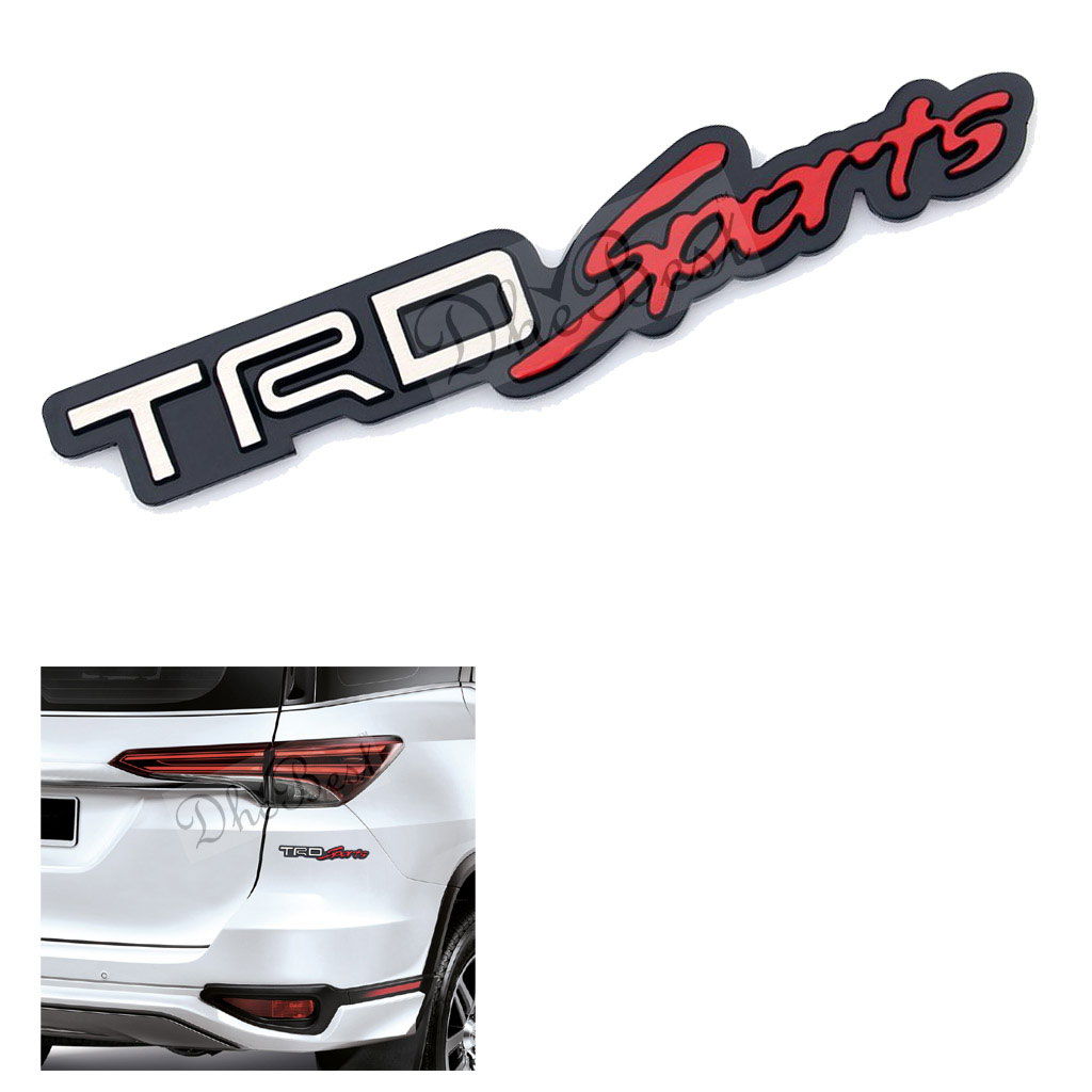 Dhe best trd sports white red black metal performance emblem sticker 3d car hold vehicle grill badge logo sticker